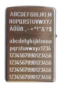 Beispiel Zippo chrom-gebürstet mit Textgravur