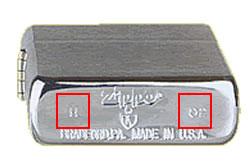 Beispiel Zippo Bodenprägung Herstellungsjahr